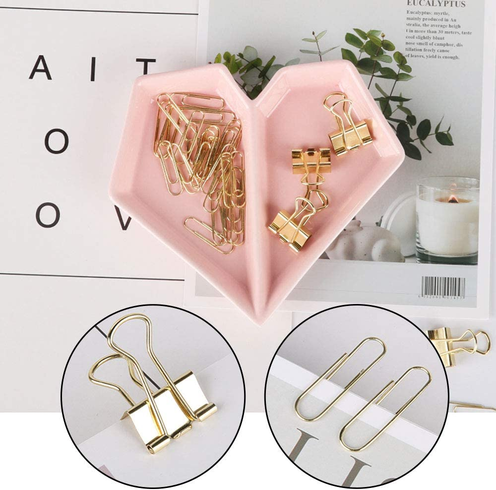Ceramic Heart-Shaped Office Decor Trinket Dish Home Ring Inspirational Storage Pink Paper Binders Clips Staples Holder or Jewelry Tray Pink, Gold