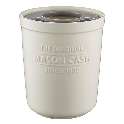Mason Cash Innovative Kitchen Glazed Stoneware Utensil Storage Pot / Tool Tidy and Trivet, White / Grey