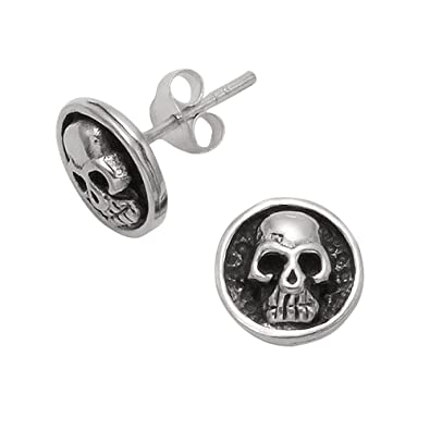 1e357811a Image Unavailable. Image not available for. Color: Sterling Silver Round  Disk Skull Stud Earrings