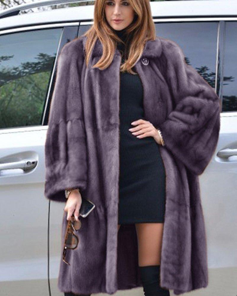 Aofur Luxury Faux Fur Parka Coat Long Lapel Trech Jacket Winter Outerwear Warm Overcoat Women Size S-XXXL (Medium, Grey) by Aofur (Image #9)
