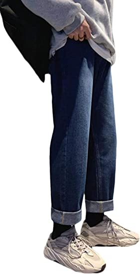 [YUNHEN]デニムパンツ メンズ ゆったり ジーンズ ワイド ロング ストレートパンツ デニム シンプル ジーパン ファッション 韓国風 Gパン ストレッチ 無地 ズボン
