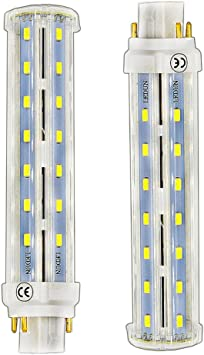 Lustaled 4 Pin Gx24q Gx24 Led Lights 12w Led G24q Base Pl Retrofit Lamp Daylight 6000k Gx24 Light Bulbs 26w Cfl Equivalent For Ceiling Fixtures Wall Sconces Porches Remove The Ballast 2 Pack Led