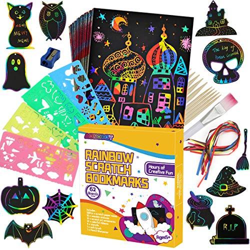 JBonest Scratch Art for Kids, 50 Sheets Rainbow Scratch Notes Paper Black Magic Art Notes Paper Boards Doodle Pad DIY…