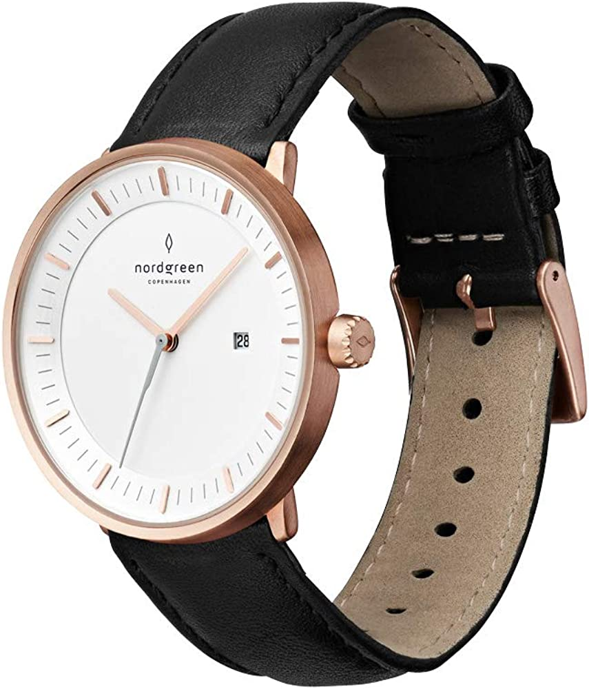 Nordgreen Unisex Philosopher Scandinavian Rose Gold Analog Watch with Mesh Or Leather Strap 10001
