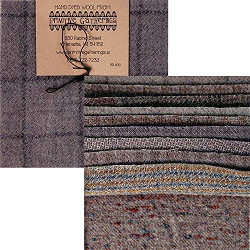 Primitive Gatherings Hand Dyed Wool Cement Charm Pack 10 5-inch Squares Moda Fabrics PRI 6021