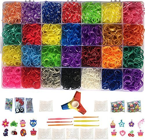Loomy Bands 12,000 Rainbow Rubber Bands Refill Set - Loom Bands Organizer, 28 Colors, over 500 Clips, 50 Beads, 15 Charms, 4 Plastic (Loom Bands Kit)