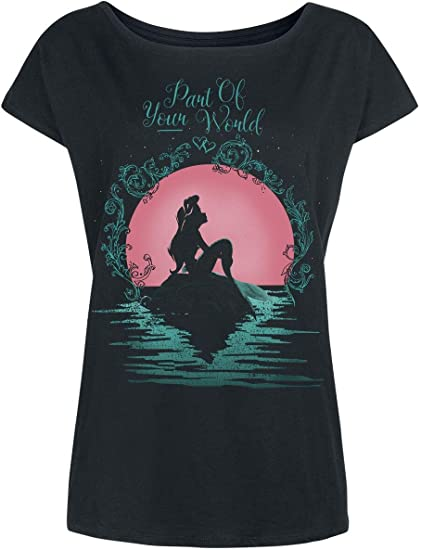 Ariel La Sirenita Part Of Your World Camiseta Mujer Negro XL