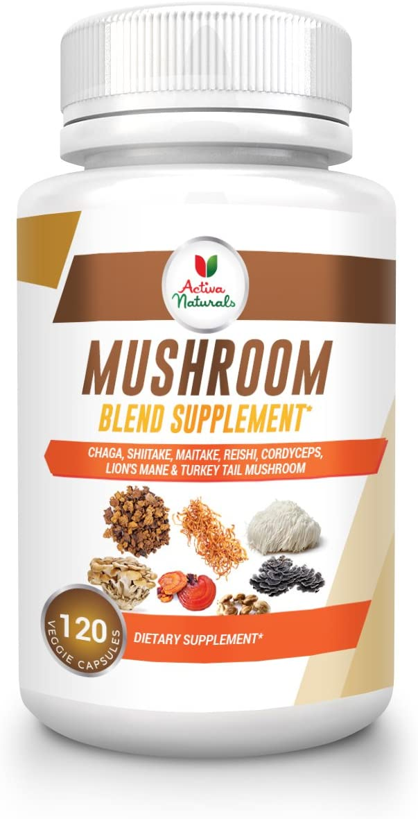 Mushroom Supplement with Turkey Tail, Reishi, Lion Mane, Maitake, Cordyceps, Chaga Shiitake Mushrooms, 120 Veggie Capsules