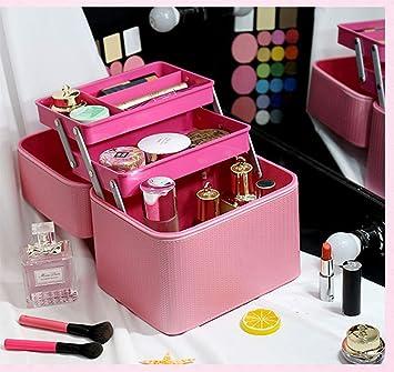Estuche de maquillaje de múltiples capas PU Beauty Box Bolsas de maquillaje extra grandes para con espejo Mujer Hombre-twoboxes-Pink: Amazon.es: Salud y cuidado personal