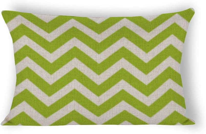 Lime Green Chevron Rectangle Decorative Cotton Linen Accent Throw Pillow Case Cushion Cover Lumbar Pillowcase for Couch Sofa Bed 12X20inch