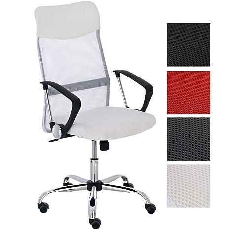 CLP Silla de Oficina Washington Regulable en Altura I Silla de Ordenador Tapizado en Cuero Sintético y Respaldo en Red I Color: Blanco