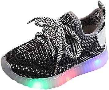 HAHA Zapatillas LED para niños-Moda Zapatos de Superficie de Malla cómodos Zapatos Deportivos Luminosos para Correr: Amazon.es: Deportes y aire libre