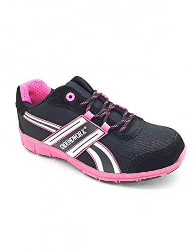 OTTAWA Damen Sicherheit Stahlkappe Leichte Schnürschuh Arbeit Schuh Trainer,Schwarz / Pink,42 EU/8 UK