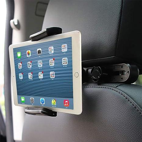 Supporto per Tablet Universale 7 a 10 Supporto Tablet Auto Poggiatesta Regolabili e 360 Gradi di Rotazione Porta Tablet Auto Sedili Posteriori