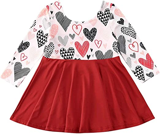 Toddler Infant Baby Girls Kids Heart Print Tutu Dresses Clothes Princess Dress