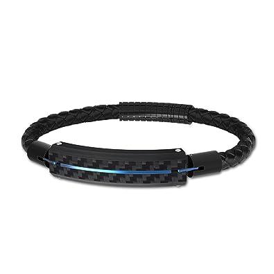 4428acc50ee Paul Weston 880 Bracelet Homme Cuir Véritable Tressé Noir Perle de Carbone  Bleu 100% Matériaux