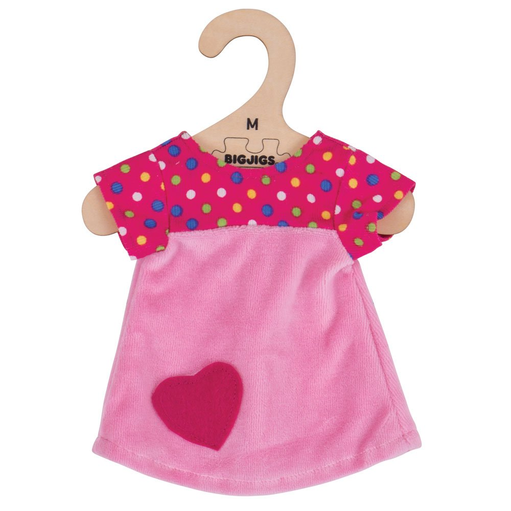 for 34cm Doll Bigjigs Toys Pink Dress with Spots