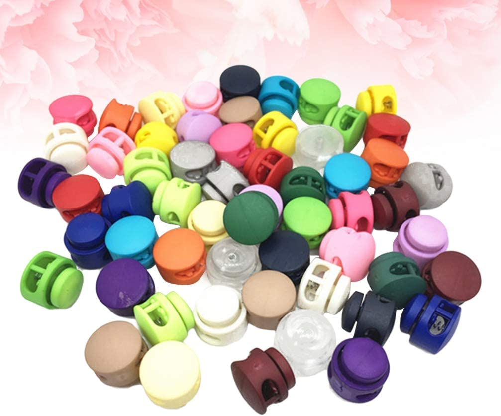 Milisten 200pcs Plastic Spring Cord Lock End Round Toggle Stoppers Fasteners Locks Buttons Ends for Camping Hiking Shoelace Replacement