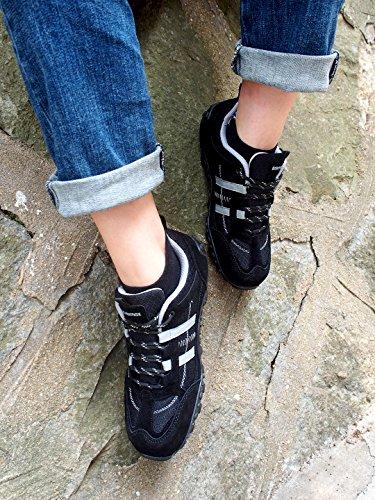 Zapatillas Top Negro Low Trail Ligeros Cómodos y Deporte de de Rojo Zapatillas Transpirables Antideslizante de Zapatillas Negro Seguridad Knixmax Senderismo Mujer Gris para Montaña Trekking de Bq6UTxp