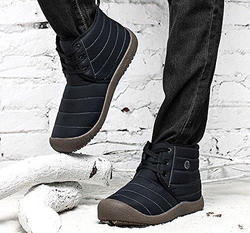 Invernali Scarpe Donna Aperta Aperta Aperta Boots Boots Piatto Stivaletti all'Aria Stringate Stivali Uomo Impermeabile Caldo Nero Neve lovejin wZY5RExE