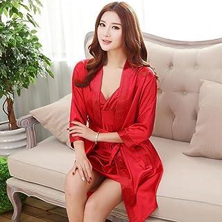 Boxer Briefs Couple Women Kimono Satin Silk Soft Nightwear Bathrobe Robes Dressing Gown Housecoat Sleepwear (Color : C, Size : L)
