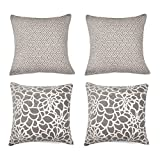 Decorative Pillow Cover - Set of 4 Throw Pillow Covers Coastal Cushions 100% Cotton Home Decorative 18 x 18 inch Soft Pillow Case Covers Invisible Zipper Pillow Case No Pillow Insert Furniture Cushions 4 PCS 02 (04-Gray)