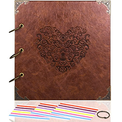 ADVcer Photo Album or DIY Scrapbook (10x10 inch 50 Pages Double Sided), Vintage Leather Cover Three-Ring Binder Picture Booth Albums with 6 Colors 306pcs Self Adhesive Photos Corners for Memory Keep Vacation Scrapbook Albums