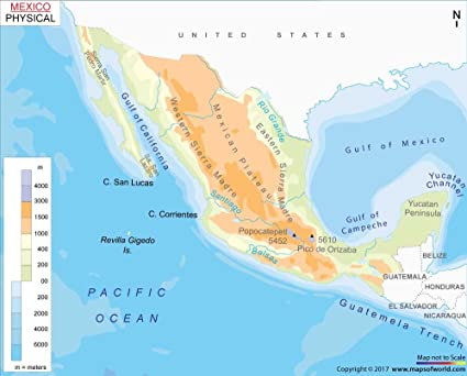 Amazon.com : Physical Map of Mexico (36\
