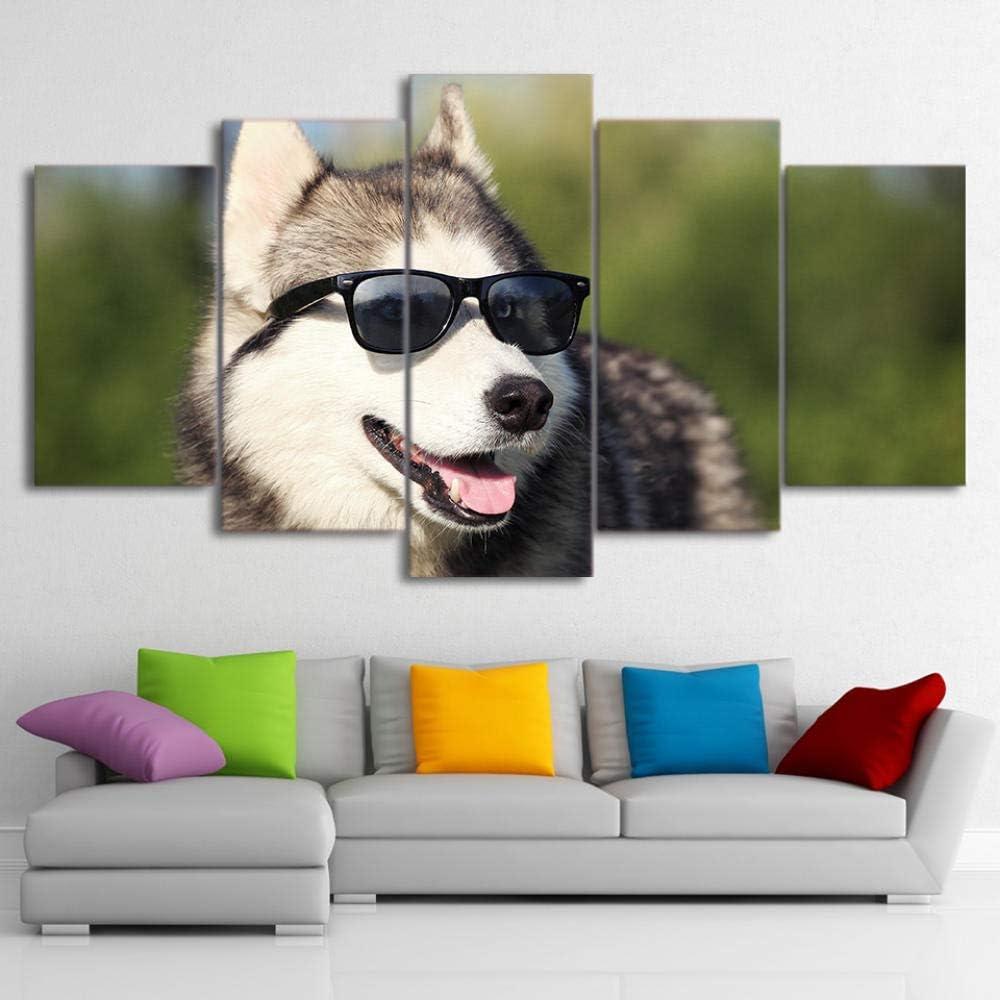 Wodes Decoración Del Hogar Moderna Hd Lienzo Impreso Obra De Arte 5 Piezas Fresco Husky Pintura Para Mascotas Arte Mural Perro Con Gafas Foto 30 * 40 * 230 * 60 * 230 * 80Cm Marco de madera