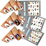 Halloween Nail Art Water Tattoo Decals Mixed Design, Pack of 3