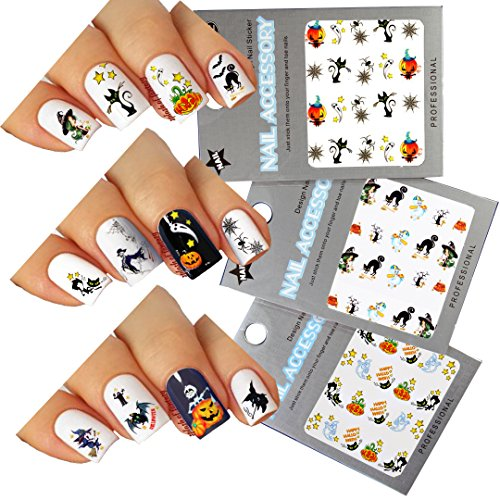 Halloween Nail Art Water Tattoo Decals Mixed Design, Pack of 3 -