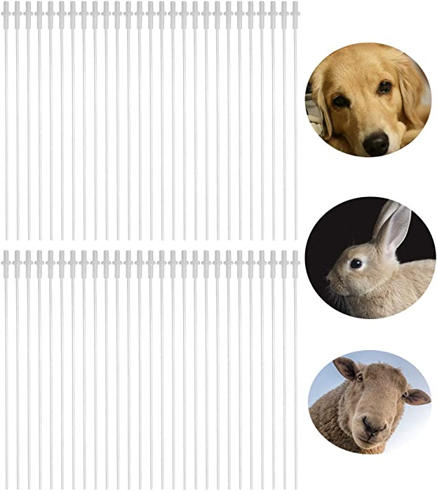50Pcs 10inches Disposable Flexible Artificial Insemination Rods Test Tube Catheter for Dog Goat Sheep Breed Canine Cat Rabbit Pet, Suitable for Most of Syringe, Single Packaging Eco-Friendly