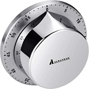 Kitchen Timer, Cooking Timer Clock with Alarm Magnetic Backing Stand, Stainless Steel Body Mechanical Countdown Timer Kitchen Reminder - Silver 3.11 x 3.11 x 1.18 inch/ 7.9 x 7.9 x 3 cm Silver