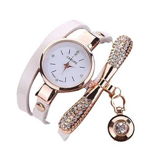 Amazon.com: LtrottedJ Women Leather Rhinestone Analog Quartz Wrist Watches (White): Health & Personal Care