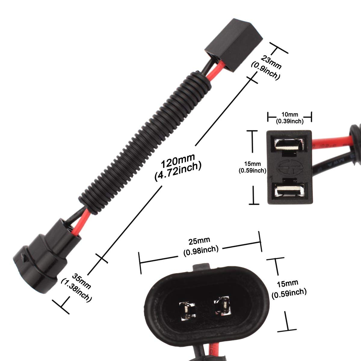 TOMALL Faisceau de c/âblage H1 H3 /à 9005 9006 pour LED Headlight Foglight Connecteur Socket Adaptateur 40cm 16inch