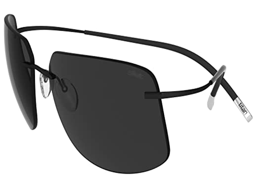 17fff9f41a Amazon.com  Silhouette Sunglasses Titan Minimal ART The Icon 8698 medium to  large fit (black silky matte   polarized grey lenses)  Clothing