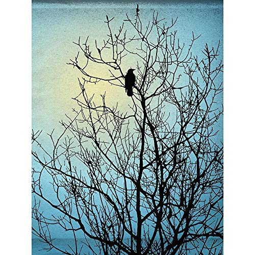 (Black Tree Blue Illustration Raven Silhouette Unframed Wall Art Print Poster Home Decor Premium)