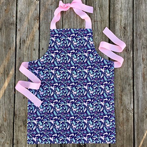 Handmade Blue and Pink Unicorn Kitchen or Craft Apron for Girls from Sara Sews