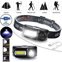 [por Yinsoouli] Linterna frontal recargable con LED de COB Linterna de 6 modos con correas Faros ajustables para correr Camping Senderismo al aire libre (Negro, espacio libre)