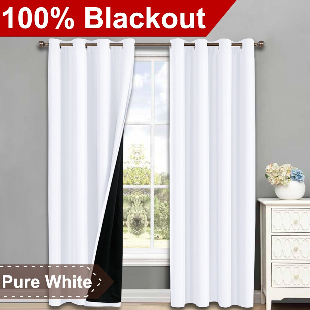 NICETOWN 100% Blackout Window Curtain Panels, Heat and Full Light Blocking Drapes with Black Liner for Nursery, 84 Inches Drop Thermal Insulated Draperies (White, 2 Pieces, 52'' Wide Each Panel)