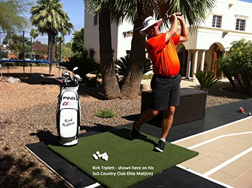 The Original Real Feel Golf Mats Country Club Elite 4'x5' Heavy Duty Commercial Practice Mat. The First Golf Mat That Takes A Real Tee and Lets You Swing Down Through,Simulator,Indoor, Outdoor Use ...