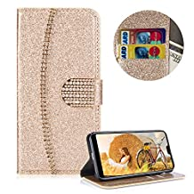 Sparkle Crystal PU Leather Huawei P20 Pro Cover, MOIKY Handmade Flip Wallet Case Protective Anti-Scratch Kickstand Magnetic Card Slots Shell for Huawei P20 Pro - Rhinestone Gold
