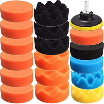 19Pcs 3 inch 80mm Sponge Buffing Buff Polishing Pad Kit Set For Car Polisher