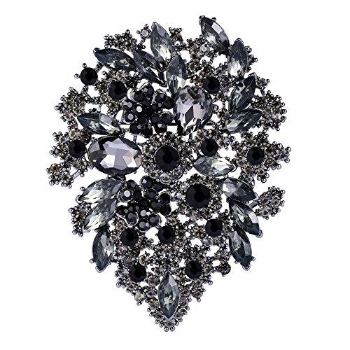 EVER FAITH Women's Austrian Crystal Vintage Style Flower Leaf Cluster Brooch Black Black-Tone (Tone Crystal Brooch)
