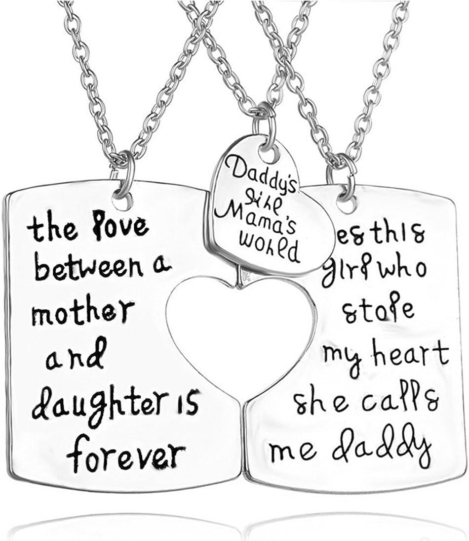 Gudeke miembro de la familia 3pcs Daddy madre hija juego de collar con colgante en forma de corazón regalo del día de padre