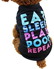 Iuhan Pet Clothes, Summer Dog Clothing Polyester T-Shirt Puppy Costume for Small Dog (XS, Black)