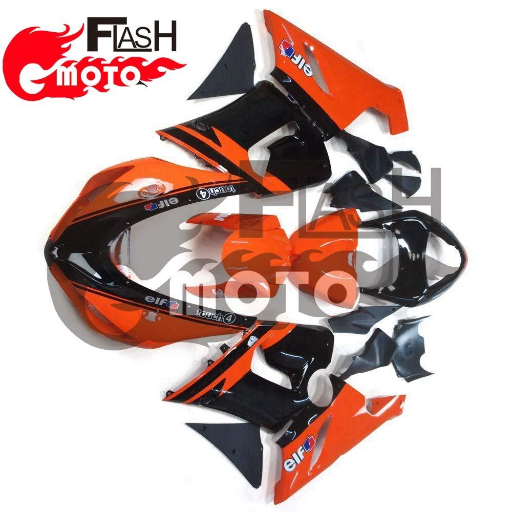 FlashMoto kawasaki 川崎 カワサキ ZX6R ZX-6R Ninja 636 2005 2006用フェアリング 塗装済 オートバイ用射出成型ABS樹脂ボディワークのフェアリングキットセット (オレンジ,ブラック)   B07L89S1XF