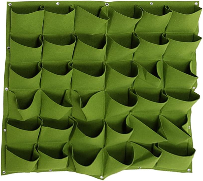 Vertical Hanging Planter with 36 Pockets Wall Garden Mount Planter Pouch for Herbs Flowers Yard Decoration Planting Bag (36 Pocket, Green)