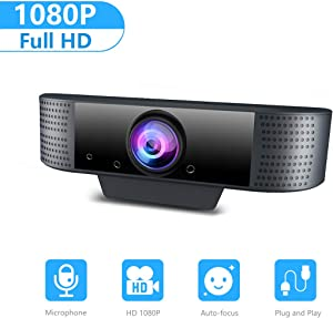 Webcam with Microphone, KFF 1080P Full HD Web Cam Computer Camera for PC/MAC/Laptop/Desktop, Plug and Play USB Web Camera, Streaming Webcam for YouTube, Skype, Zoom, Xbox One Video Calling, Studying