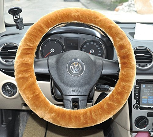 cutequeen trading Sheepskin Stretch-On Steering Wheel Cover Yellow